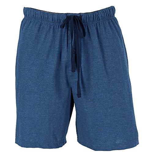 Hanes Men's Jersey Knit Cotton Button Fly Pajama Sleep Shorts, XL, Blue