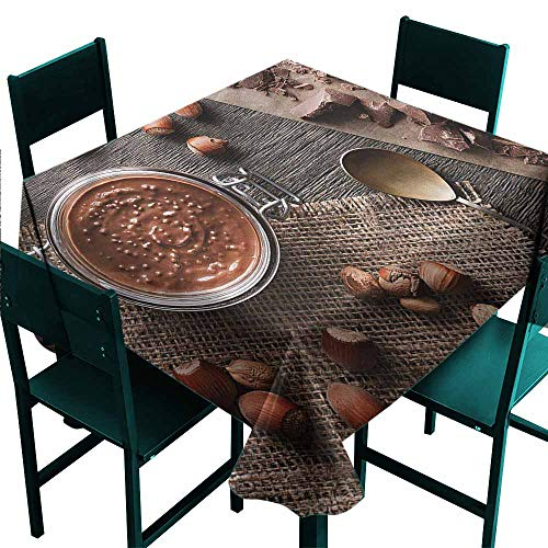 DONEECKL Easy Care Tablecloth Brown Yummy Chocolate Cream Nuts Table Decoration W60 xL60