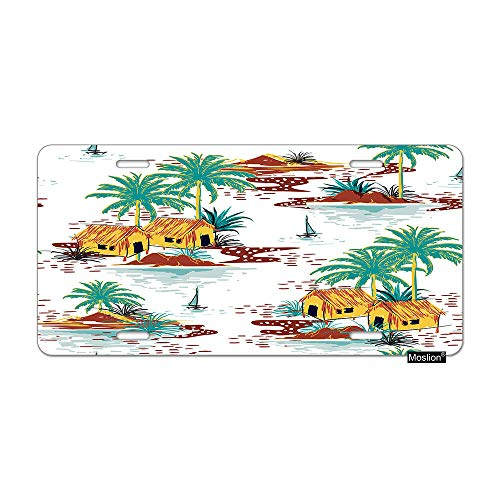 (Moslion Beach License Plate Summer Sea Island Ocean Water Farmhouse Boats Palm Trees Car Tags Aluminum Metal Custom License Plate Cover 6x12 Inch for Truck SUV)