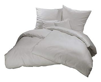 Genieße Den Schlaf Warme Winterbettwäsche Grau Uni Einfarbig
