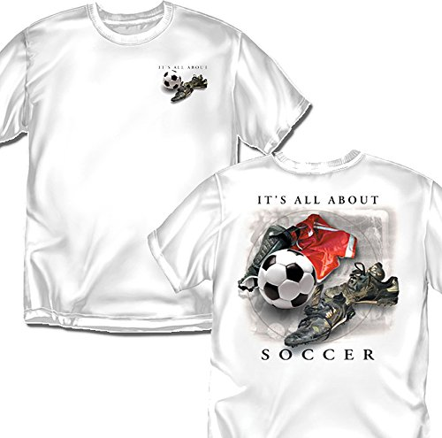 Coed Sportswear Soccer T-Shirt: It's All About Soccer, White - Adult X-Large Coed Sportswear Football