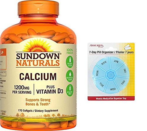 Amazon.com: Sundown Naturals calcio más vitamina D3, 1200mg, ea 170 cápsulas con gratis 7 días plástico píldora organizadores: Health & Personal Care