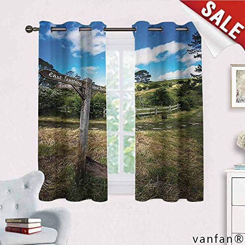 (Big datastore Hobbits, Curtains for Bedroom,Rustic Wooden Sign in Hobbit Land East West Movie Set New Zealand The Shire, Thermal Insulated Tie Up, W63 x L45 Green Brown)