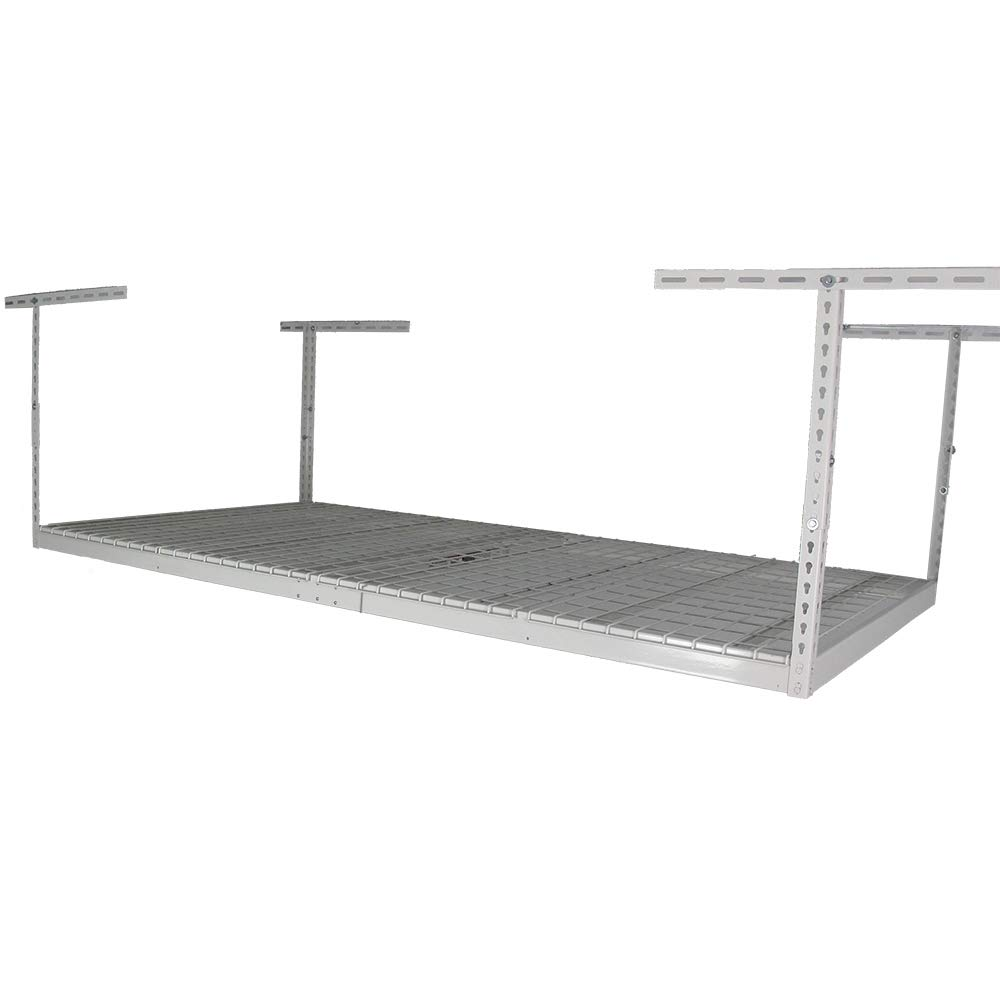 SafeRacks Factory Second - 4x8 Overhead Storage Rack Heavy Duty (24-45'' Ceiling Drop) - White by SafeRacks