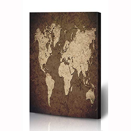 (Ahawoso Canvas Prints Wall Art 12x16 Inches Asia America Vintage World Map Wall Abstract North Old Parchment Africa Aged Design Color Wooden Frame Printing Home Living Room Office Bedroom)