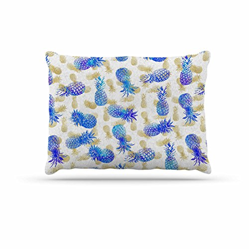 KESS InHouse Noonday Design ''Pineapple Party'' Blue Illustration Dog Bed, 30'' x 40'' by Kess InHouse