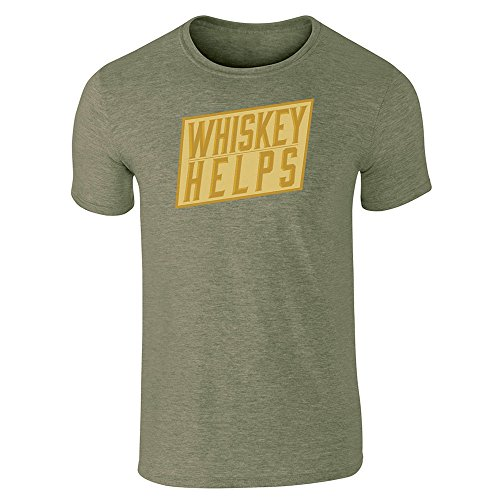 Pop Threads Whiskey Helps Heather Military Green M Short Sleeve T-Shirt (Single Cask Malt)