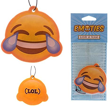 eUnique Emoji Crying Laughing Face Car Air Freshener - Brilliant Blueberry! (Crying/Laughing Face)