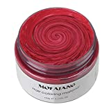 MOFAJANG Unisex Hair Wax Color Dye Styling Cream Mud, Natural Hairstyle Pomade, Washable Temporary,Party Cosplay (Red)