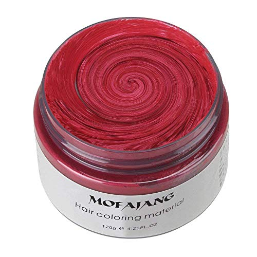 Temporary Red Hair Color Halloween (MOFAJANG Unisex Hair Wax Color Dye Styling Cream Mud, Natural Hairstyle Pomade, Washable Temporary,Party Cosplay)