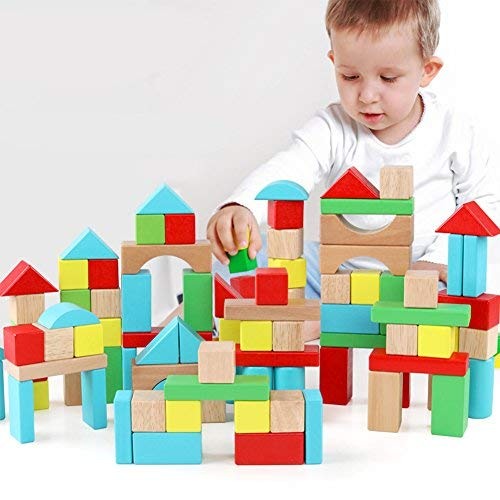 QZM Wooden Building Blocks Set Carrying Container Basic Build Play Stacking Toy Toddlers Boys Girls Educational Preschool Learning Toys 4 Colors 9 Shapes 100pcs Blocks Set