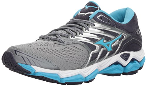 Mizuno Women's Wave Horizon 2 Running Shoe, Monument/Aquarius, 7 B US