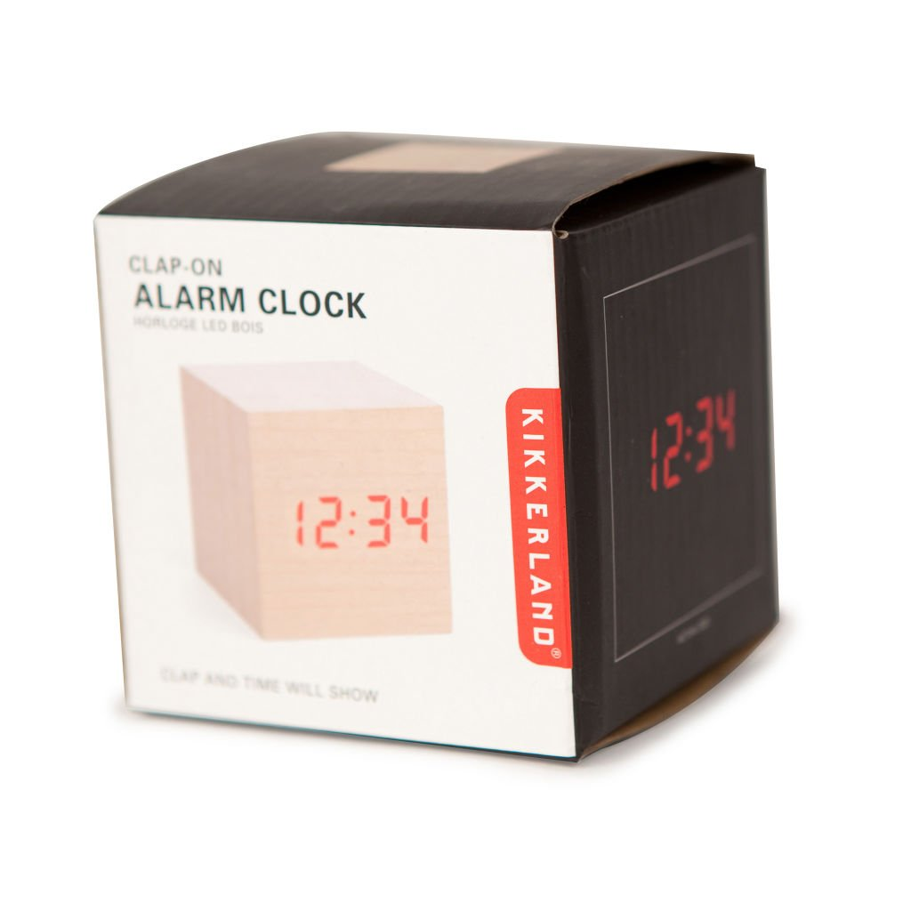 Amazon.com: Kikkerland AC22 Clap On Cube Alarm Clock, Light Wood: Home U0026  Kitchen