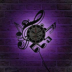 Living Room Retro Vinyl Wall Clock Musical Themes CD Record Clock Large 3D Home Decor Watch B with 7 color light 12 inch