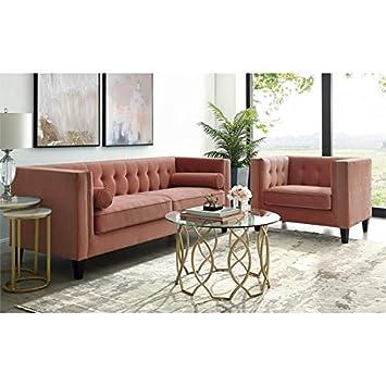 Amazon.com: Posh Living Phoenix Velvet Button Tufted Sofa ...