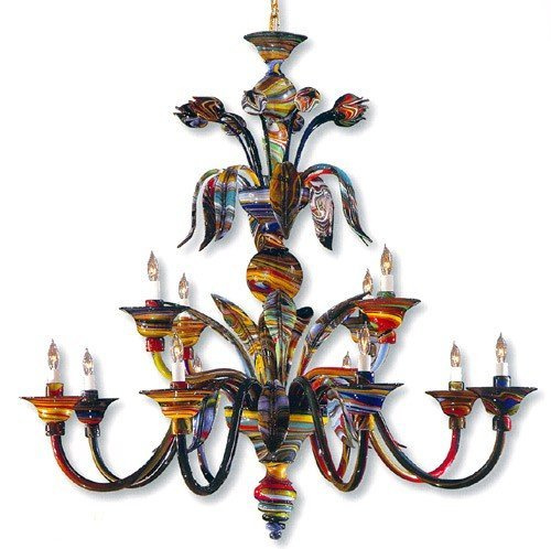 Metropolitan C7056/12, Camer Murano Glass 2 Tier Chandelier Lighting, 12 Light, 720 Total Watts