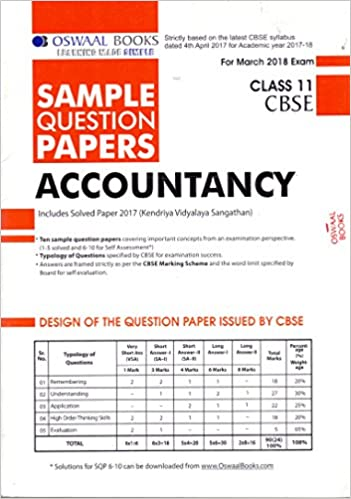 Oswaal CBSE Sample Question Papers for Class 11 Accountancy (Mar.2018 Exam)