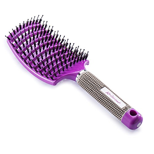 Kaiercat Boar Bristle Brush-Best at Detangling Thick Hair Vented For Faster Drying-100% Natural Boar Bristles for Hair Oil Distribution (Purple)