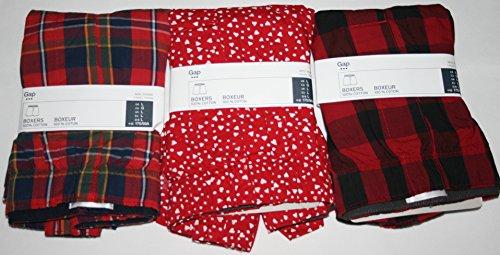 GAP Mens Printed Boxers 3-Pairs Boxer Shorts (Large) (Plaids, Small hearts)