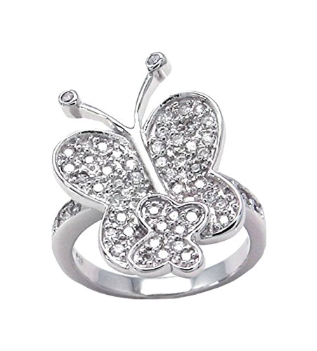 Twin Butterfly ring designer 25 mm Wide Brilliant cut 925 Silver Brilliant Cut Butterfly Ring