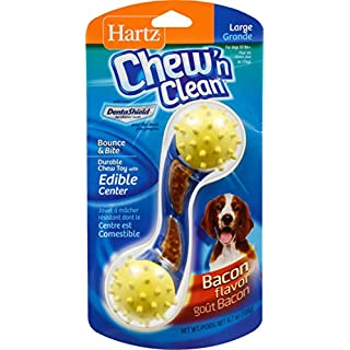 Hartz Chew 'n Clean Bounce & Bite Bacon Flavored Dental Dog Chew Toy and Treat - Large