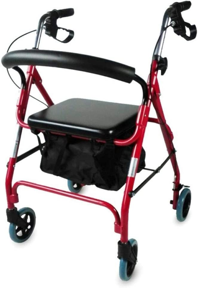 Mobiclinic, Modelo Sinagoga, Andador para adultos, mayores, minusvalidos o ancianos, de aluminio, ligero, plegable, con asiento y 4 ruedas, Color Rojo