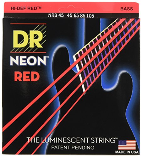 DR Strings Hi-Def NEON Red Coated Medium 4-String (45-105) Bass Guitar - Strings Red Bass