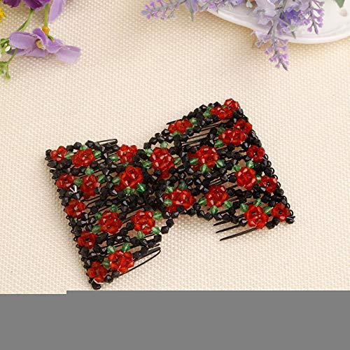 s for Women Hair Bun Maker Accessories, Elastic Beaded Double Hair Clips Combs for Hair Styling or Hair Decoration (Light Blue) (Red) ()