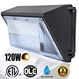 LED Dawn Wall Pack Light Fixture, 120W(500~600W HPS/HID Bulb Replacement), Warm White 2500K Wall Mount Pack Light, Waterproof Exterior/Outdoor/ Entrance Security Light, Outdoor Security Lighting