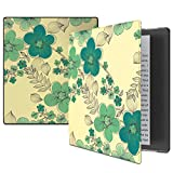 VORI Case for Kindle Oasis(9th Generation, 2017 Release), Smart Cover 7'' Kindle Oasis, Premium Slim Folio Protective Case with Auto Wake/Sleep For Amazon All-New Kindle Oasis E-reader-Green Flower