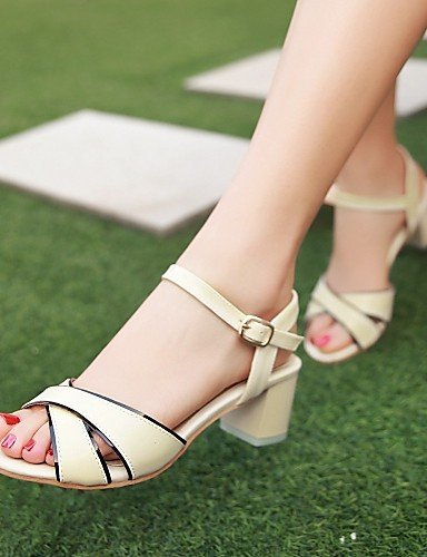 ShangYi Womens Shoes Heel Heels / Peep Toe Sandals / Heels Outdoor / Dress / Casual Blue / Pink / White / Almond White
