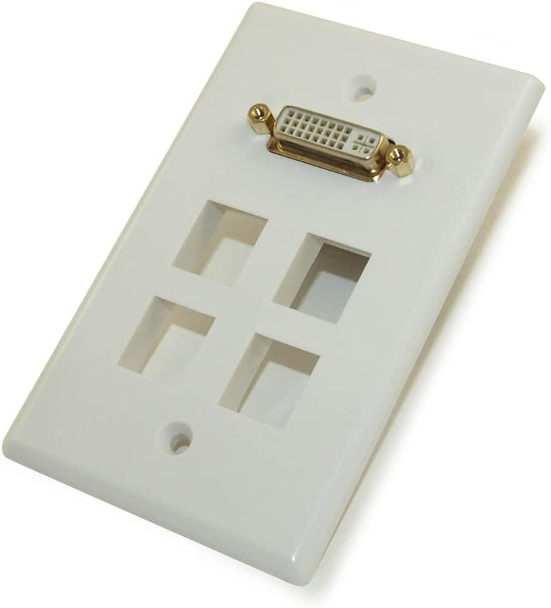 MyCableMart Wall Plate: DVI Gold Plated White 4 Hole Keystone