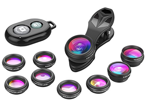 - Apexel Phone Camera Lens-Macro Lens+Wide Lens+Fisheye Lens+Telephoto Lens+CPL/Flow/Radial/Star Filter+Kaleidoscope 3/6 Lens 10 in 1 Lens Kit +Remote Shutter for iPhone, Samsung,LG and Most Smartphones