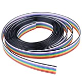 Hilitchi 16ft/5m 10 Wire Rainbow Color Flat Ribbon IDC Wire Cable