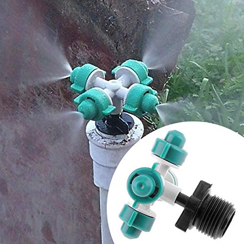 - Ants-Store - 4 Head Dripper Nozzle Outlets Garden Sprayers Irrigation Misting Flow Hose Drip Cross Atomization Nozzle with 4 Screw Thread