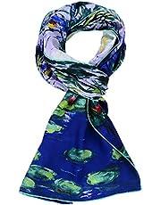 Salutto Womens 100% Charmeuse Silk Scarf Van Gogh Paul Gauguin Monet Painted Scarves