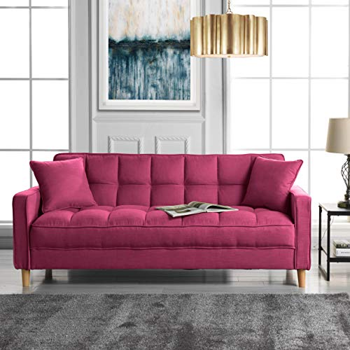 DIVANO ROMA FURNITURE Modern Linen Fabric Tufted Small Space Living Room Sofa Couch (Hot Pink) ()