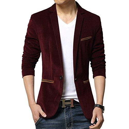 Blazer Vintage Velvet (WEI QIU Men's Vintage Velvet Slim Fit Wedding Dinner Tuxedo Casual Blazer Jacket Medium Wine)