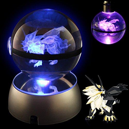 Pokemon Crystal Poke Ball Night Light with Large Base and Soft Cleaning Cloth With Matching Pokemon Poke Ball Style LED Keychain (Dusk Mane (Dusk Ball)