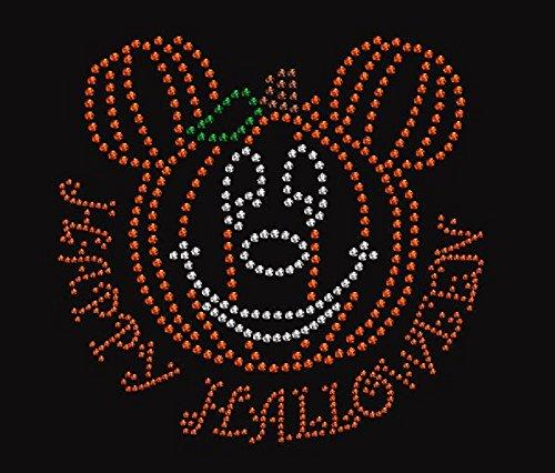 Happy Halloween Pumpkin Face Rhinestone Iron on -