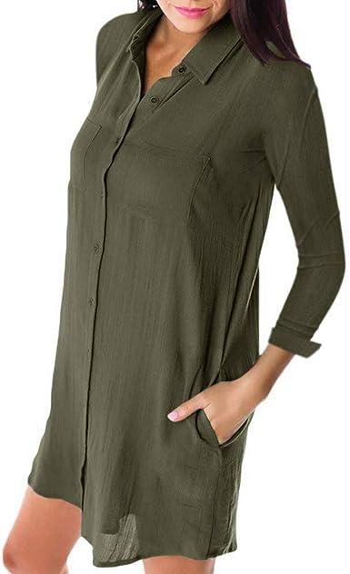 Camisa De Manga Larga Ropa De Otoño para Festiva Mujer Camisa De Vestir Vestido Camisa Larga Ocio Botones Bolsillos Camiseta Mini Vestido Básico De Color Sólido Todos Los Días Vestidos Cortos: Amazon.es: