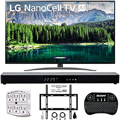 """LG 4K HDR Smart LED NanoCell TV w/AI ThinQ 2019 Model with Home Theater 31"""" Soundbar, Wireless Backlit Keyboard, Flat Wall Mount Kit & SurgePro 6-Outlet Surge Adapter"""
