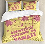 Vintage Hawaii Duvet Cover Set King Size by Lunarable, Tropical Trees Exotic Bird Silhouettes Everybody Dreams of Hawaii Quote, Decorative 3 Piece Bedding Set with 2 Pillow Shams, Yellow Pink