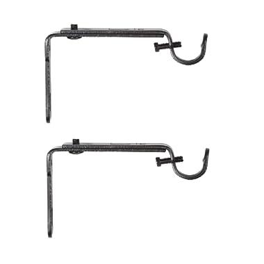 Umbra Adjustable Bracket for Drapery Rod, Set of 2, Black, Single