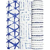aden + anais Silky Soft Swaddle Baby Blanket, 100% Viscose Bamboo Muslin, Large 47 X 47 inch, 3 Pack, Indigo, Blue