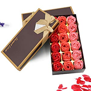Red Soap Rose Flower, Natural Preserved Rose Soap in Gift Box, Gift for Anniversary Birthday Wedding Mother's Day Valentine's Day,18Pcs 65