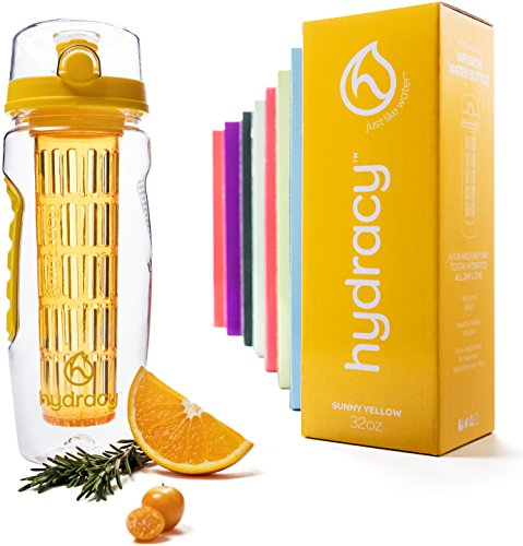 Hydracy Fruit Infuser Water Bottle - 32 Oz Sports Bottle with Full Length Infusion Rod, Time Mark and Insulating Sleeve Combo Set + 27 Fruit Infused Water Recipes eBook Gift - Sunny Yellow