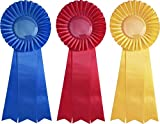 First, Second, and Third Place Prize Ribbon Set - 3 pieces - 13'' Long - Award Rosettes - USA Made - Traditional Blue, Red, Yellow