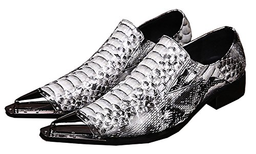 IMYSHONEY Men's Casual Fashion Snakeskin Pattern Comfort Leather Pointed Lazy Shoes