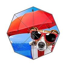 Hot Summer Days At Beach Funny Dog With Sunglasses Custom Rain Foldable Umbrella